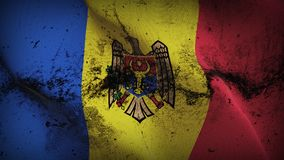 Moldova grunge dirty flag waving on wind. Moldovan background fullscreen grease flag blowing on wind. Realistic filth fabric texture on windy day Stock Image