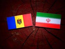 Moldovan flag with Iranian flag on a tree stump isolated Stock Image
