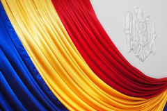Moldovan flag with stem on wall Royalty Free Stock Image