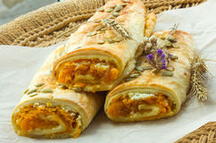 Moldovan national food - Plachinda revolving with pumpkin and cheese Royalty Free Stock Image