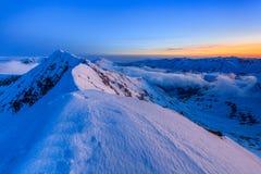 Moldoveanu Peak in winter stock photography