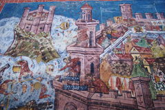 Moldovita, Belegering van de fresko van Constantinopel Stock Foto's