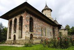 Moldovita orthodox painted church monastery, Moldavia, Bucovina, Romania. East Europe stock photo