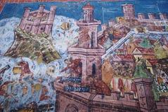Moldovita, Siege of Constantinople fresco. Old religious paintings on moldovita monastery wall, romania, unesco world heritage stock photos