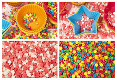 Molds and colorfull candy Royalty Free Stock Images