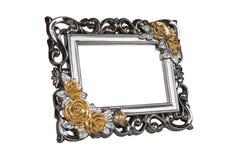 Moldura para retrato cinzelada prata com decoração cor-de-rosa Imagem de Stock Royalty Free