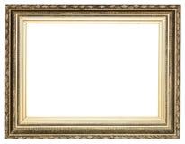 Moldura para retrato de madeira antiga dourada larga grande foto de stock royalty free
