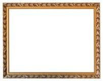 Moldura para retrato de madeira dourada cinzelada isolada imagem de stock royalty free