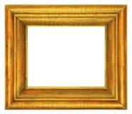 Moldura para retrato de madeira dourada isolada no branco imagens de stock royalty free