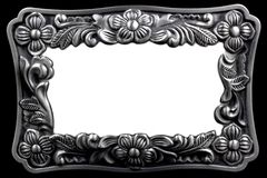 Moldura para retrato de prata antiga com uma pancadinha decorativa Fotografia de Stock