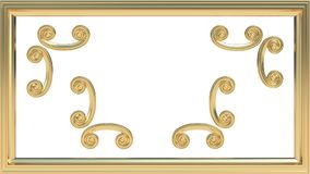 Moldura para retrato do ouro com um grupo de decorações a ser usadas avante ou separadamente 3D rendido ilustração royalty free