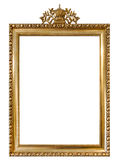 Moldura para retrato dourada objeto branco isolado do vintage do fundo Foto de Stock