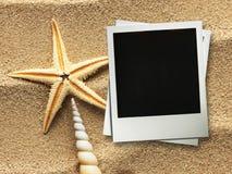 Moldura para retrato em shell e em fundo da areia foto de stock