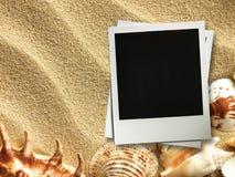 Moldura para retrato em shell e em fundo da areia foto de stock royalty free