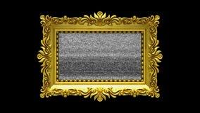 A moldura para retrato luxuosa do ouro gerencie no fundo preto Introdução com ruído da tevê e a tela verde, animação 3d ilustração do vetor