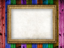 Moldura para retrato no fundo de madeira Fotografia de Stock