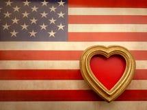 Moldura para retrato ornamentado do vintage Bandeira americana da lona Fotos de Stock Royalty Free