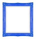 Molduras para retrato azuis Isolado no fundo preto Imagens de Stock
