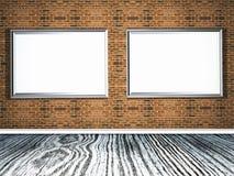 molduras para retrato 3D em uma parede de tijolo com assoalho de madeira ilustração do vetor