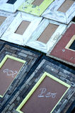 Molduras para retrato de madeira coloridas Fotografia de Stock
