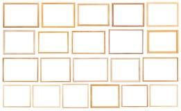 Molduras para retrato de madeira estreitas simples isoladas Fotografia de Stock
