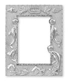 Molduras para retrato de prata Isolado no fundo branco Fotos de Stock Royalty Free