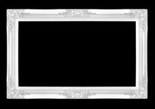 Molduras para retrato de prata Isolado no fundo preto Fotografia de Stock