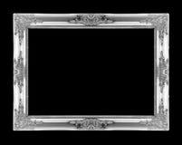 Molduras para retrato de prata Isolado no preto Imagens de Stock