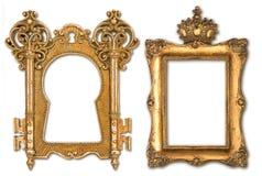 Molduras para retrato douradas do vintage isoladas no branco Imagem de Stock
