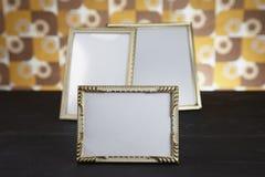 Molduras para retrato vazias, ouro Fotografia de Stock Royalty Free