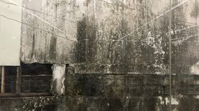 Moldy υπόβαθρο τοίχων με τα παλαιά παράθυρα Στοκ Εικόνες