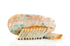 Moldy bread isolated on white background rotten food Royalty Free Stock Images