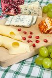 Moldy cheese pepper cheese and emmental grapes assorted with pomegranate and grapes on wood cheese tasting delicacy concept. Photo Royalty Free Stock Photos
