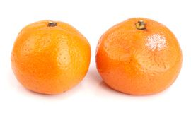 Moldy and good tangerine isolated on white background.  Stock Photo