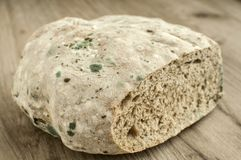 Moldy and musty wheat bread. Loaf on wooden background Royalty Free Stock Photos