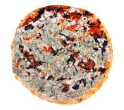 Moldy pizza. Not fresh, moldy pizza on a white background Stock Images