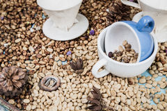 Moldy raw coffee bean in coffee cup Stock Image