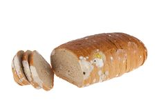 Moldy sliced bread loaf Stock Images