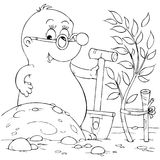 Mole. Black-and-white illustration (coloring page): mole holding his spade Stock Photo