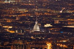 Mole Antonelliana Cityscape. Mole Antonelliana and panorama of Turin aerial view stock photos