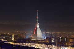 Mole Antonelliana by night. The Mole Antonelliana is a major landmark building in Turin, Italy. It is named for the architect who built it, Alessandro Antonelli stock image