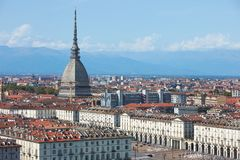 Mole Antonelliana tower and Vittorio square view in Turin in a sunny day in Italy. Mole Antonelliana tower and Vittorio square view in Turin in a sunny summer royalty free stock images