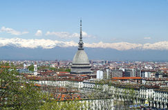 Mole Antonelliana in Turin, Italy. The characteristic building of Turin, Piedmont, site of the 2006 Winter Olympic and the Alps mountains Royalty Free Stock Photos
