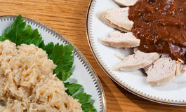 Mole with Chicken and Rice Stock Images