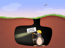 Mole in the den. Illustration of mole in the den Royalty Free Stock Photo