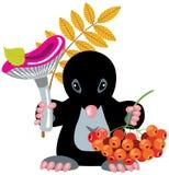 Mole, die Pilz hält Lizenzfreies Stockfoto
