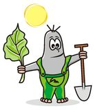 Mole. Gardener with a shovel and vegetables Royalty Free Stock Images
