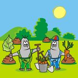 Mole-gardeners. Two moles on the meadow - illustration for kids Stock Photos