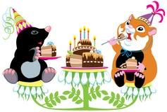 Mole and hamster eating birthday cake stock illustration