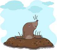 The mole has got out of the earth. Illustration of Cartoon mole gesturing. Illustration for book pages royalty free illustration